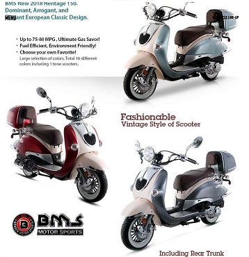 BMS Heritage 2 150 Scooter - Excellent Quality Made by Znen w/ BMS Service Warranty - Shipping Not Included